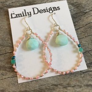 Peruvian opal pink pearl mini hoop earrings